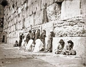 Félix Bonfils יהודים בנים ובנות מתפללים יחד בכותל המערבי 1870