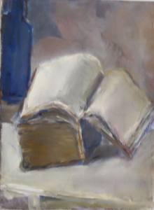 חנה דה רושה, ואבות העיניים להביט על משקל היופי הגנוז בספר על השולחן ליד הבקבוק