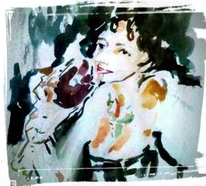 מרים שחורי, לדפני, פורטרט לכוס יין אדום ביד עוטפת מרחב וזמן של אישה ירוקה תמיד