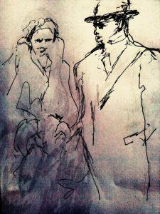 מרים שחורי, זוג בטיול, לאה גולדברג עם בן זוג , בקובנה שבליטה
