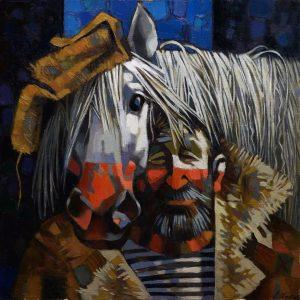 Andrey Shustov סוס עצוב ומלח מחבק בחיוך